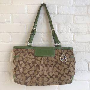Coach Tan & Green Lining Signature Handbag Purse